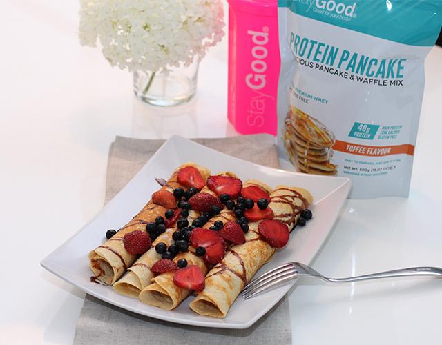 recept på glutenfria och laktosfria proteinpannkakor